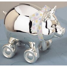"<strong>Reed & Barton</strong> Children's Giftware 4.25"" x 5.13"" Piggy with Wheels Bank"