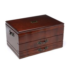 2 Drawer Provincial Mahogany Silverware Chest with Mahogany and Brown Lining