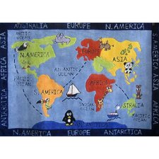 Zoomania World Map Kids Rug