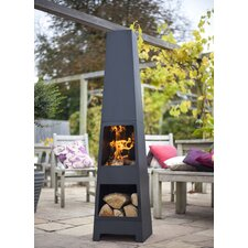 Malmo Chimenea in Black with Log Store