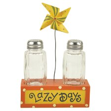 """Lazy Days"" Salt and Pepper Holder with Pinwheel"
