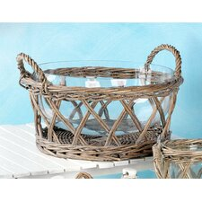 Wicker Salad Basket with Glass Bowl