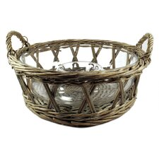 Wicker Basket with Chip And Dip Glass Bowl