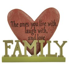 """""""Live / Laugh With Family"""" with Heart Statue"""