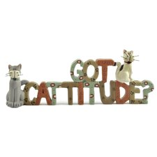 "<strong>Blossom Bucket</strong> ""Got Cattitude?"" with Cats Statue"