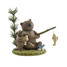 """""""Together"""" Fishing Bears Statue"""