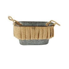 Oval Bucket with Burlap Ruffle and Handles
