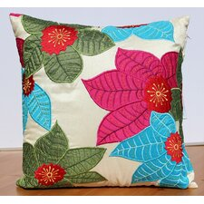 Leaf Embroidery Accent Pillow