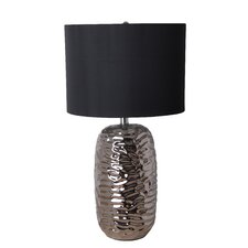 "25.75"" H Rippled 3-Way Ceramic Table Lamp  with Drum Shade"