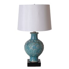 "3-Way 26.5"" Floral Ceramic Pot Table Lamp"