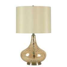 "3-Way 23.5"" Cognac Glass Gourd Table Lamp"