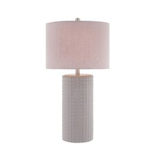 3 Way Diamond Patterned 28'' H Table Lamp with Drum Shade