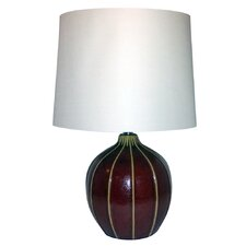 "3-Way Ceramic Gourd 22.5"" H Table Lamp with Empire Shade"