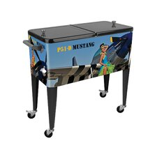 Warbird Pinup Girls Crazy Horse 80 Qt. Rolling Patio Cooler