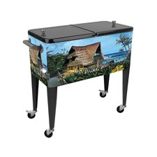 Hawaiian Hideaway 80 Qt. Rolling Patio Cooler