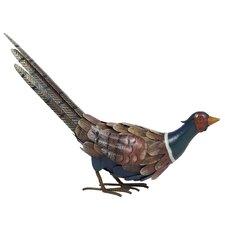 Steel Feeding Pheasant Figurine