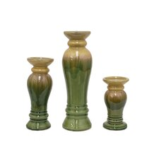 3 Piece Ceramic Candle Holder Set