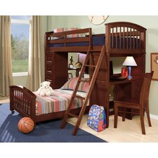 <strong>NE Kids</strong> School House Student Loft Bed with Additional Lower Bed