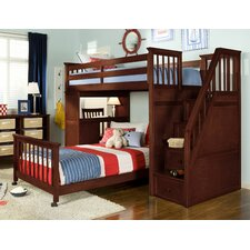 School House Stair Loft Bed with Desk End