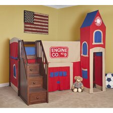 <strong>NE Kids</strong> School House Junior Loft Bed with Firehouse Tent