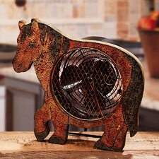 Figurine Horse Wood Fan