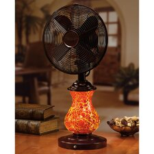 "10"" Rustic Crackle Glass Table Fan"