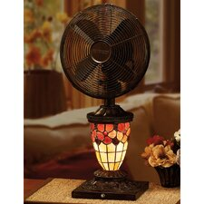 "10"" Flower Petal Mosaic Glass Table Fan"