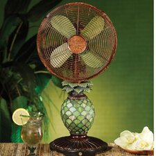 "10"" Mosaic Glass Pineapple Table Fan"