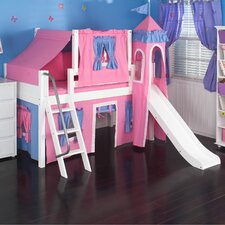 Low Loft Bed with Angle Ladder, Slide, Tower, Top Tent and Curtain