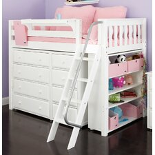 Mid Loft Bed with Angle Ladder, 4 Drawer, Narrow 4 Drawer and Bookcase