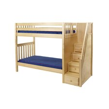 WOPPER Curved Headboard High Bunk Bed with Staircase on End