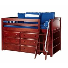 KICKS2 Low Loft Slat Bed with Angle Ladder and 6 Drawer Dresser