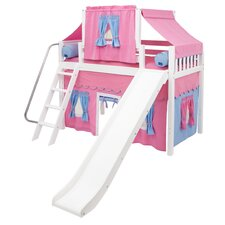 Mid Loft Bed with Angle Ladder, Slide, Top Tent and Mid Loft Curtain