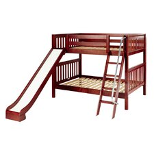 Mid Height Bunk Bed with Angle Ladder and Slide