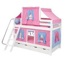 Mid Bunk Bed with Angle Ladder, Top Tent, Curtain and Trundle