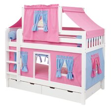 Low Bunk Bed with Straight Ladder, Top Tent and Trundle