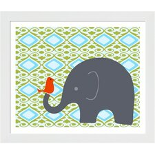 Elephant with Bird Framed Art