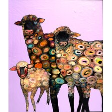 'Wooly Sheep' by Eli Halpin Painting Print Lavender