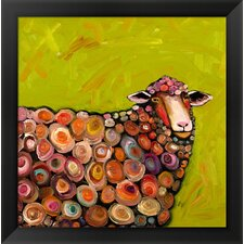 'Wooly Sheep' by Eli Halpin Framed Painting Print in Citrus