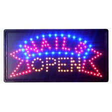 """10"""" x 19"""" Animated Motion LED Neon Light Nails Open Sign"""