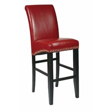 "Bonded Leather 30"" Parsons Bar Stool with Nail Head Accents"