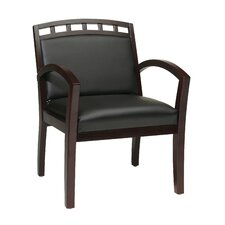 <strong>OSP Designs</strong> Leg Chair with Black Faux Leather Seat and Wood Crown Back