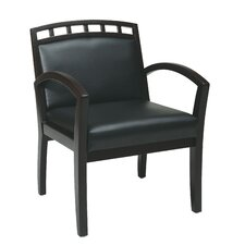 Leg Chair with Black Faux Leather Seat and Wood Crown Back