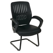 Screen Back Contour Shell Sled Base Visitor Chair with Mesh Seat and Padded Arms