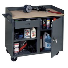 Mobile Service Bench with Cabinet and Drawer