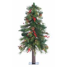 3' Green Hard Needle Alberta Alpine Christmas Tree with 50 Clear Lights and Stand
