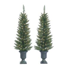 4' Green Cedar Pine Christmas Tree with 100 Clear Lights with Plastic Pot and Stand (Set of 2)