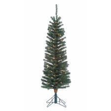 6.5' Green Pencil Fir Christmas Tree with 100 Clear Lights and Stand
