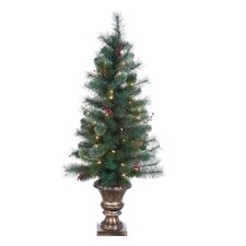 7.5' Green Hard Needle Lodge Berry Pine Christmas Tree with 70 Clear Lights with Pot and Stand