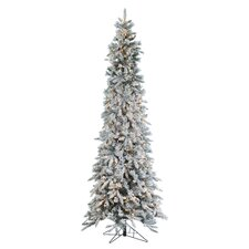 9' Narrow Pencil Pine Christmas Tree with 650 Clear Lights with Flocked and Stand